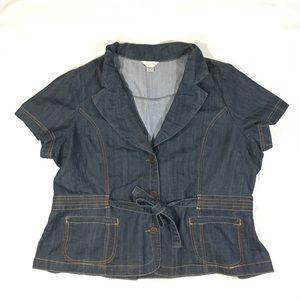C.J. Banks Denim Jean Belted Blazer Jacket 2X Plus